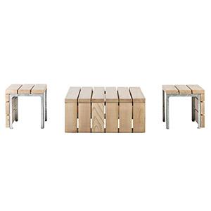 Mobilier Link - table basse et tabourets