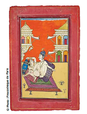 Couple aristocratique sur une terrasse. Ecole de jodhpur. Pigment naturel et rehaut d'or sur papier. Collection privée, Ahmenabad