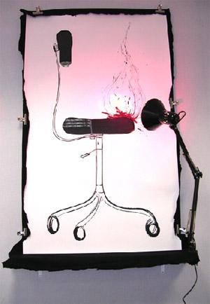 Olivier Nottellet Chaise, 2006 Dessin à l'encre sur papier, feutrine,lampe, bois, 150 x 90 cm (59.1 x 35.4 in.) Collection privée