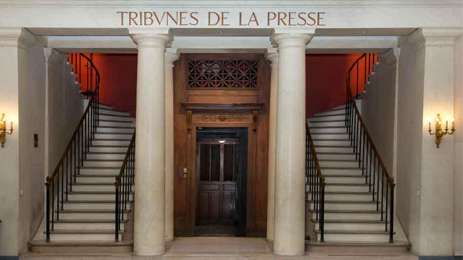 Etat d'urgence - Escaliers et ascenseur d'accès aux Tribunes de la presse - © Assemblée nationale