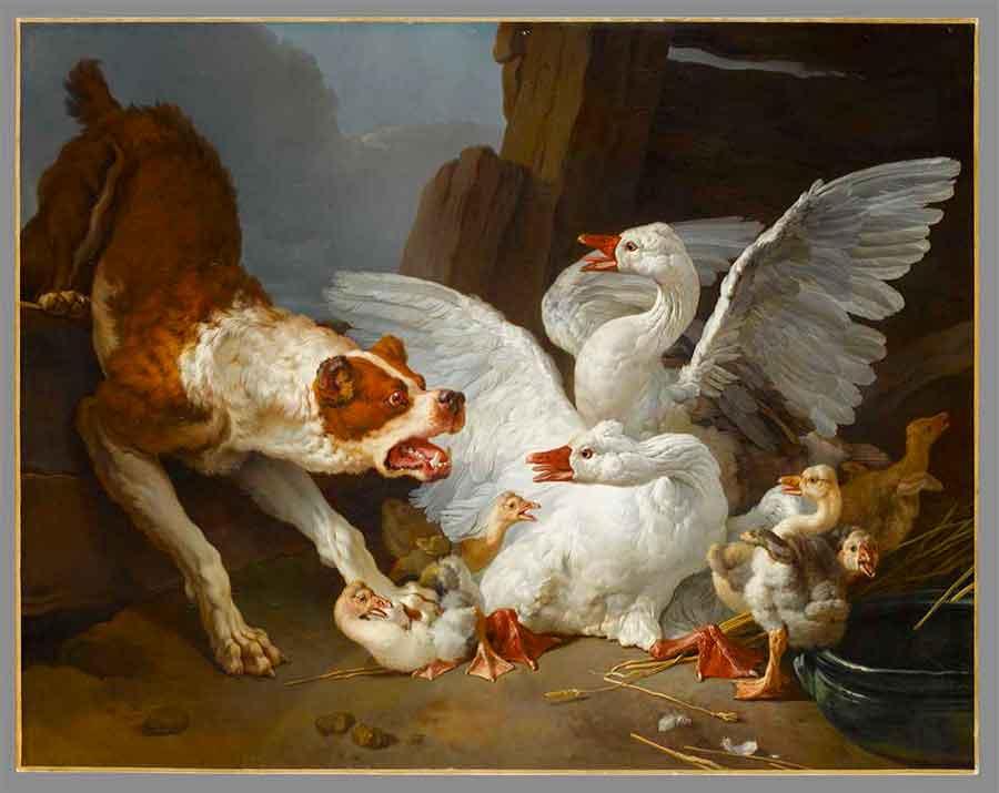 Jean-Baptiste Huet - Un dogue se jetant sur des oies, vers 1768-1769, huile sur toile, Paris, musée du Louvre, département des Peintures © RMN-Grand Palais (musée du Louvre) / Stéphane Maréchalle