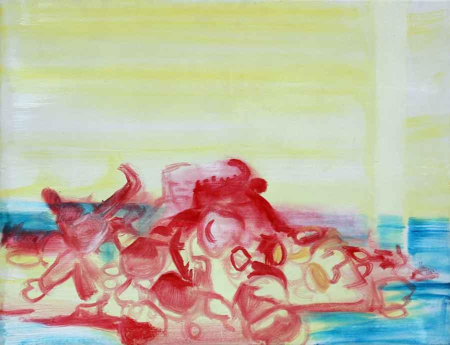Catherine Houard - Madeleine Roger-Lacan, Peluches entassées #2, 2015, Huile sur toile, 50 x 65 cm