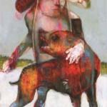 Sylc- La ronde des chiens fous (VII). 2014. Acrylique, pastel à l'huile sur toile, 168 x 137 cm