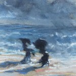 Normandie - Félix Buhot, Deux femmes sur la plage de Trouville