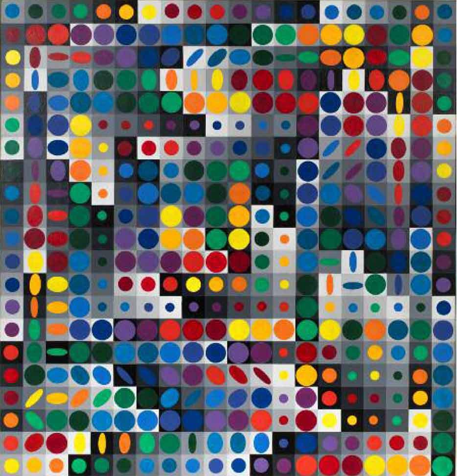 Victor Vasarely - OriOn MC I Acrylique sur panneau - 28 x 122 _-1963