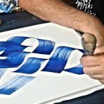 Calligraphie hébraique- Michel D'anastasio dans son atelier (©Photo- Haim Ouizemann)