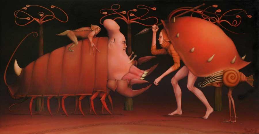 L'imaginaire, une porte entre deux mondes - Hugues Gillet, Gladiatorius ludus, 1997, huile sur bois, 51 x 94