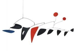 De-Jonckheere- Alexander Calder, 1898 Lawnton - New York 1976 Deux horizontales et neuf verticales, 1956, Tôle, fil de fer et peinture : 48,3 x 152,4 x 38,7 cm