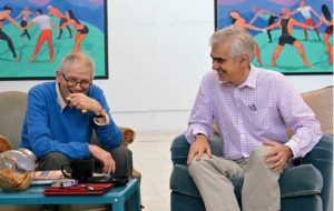 David Hockney et Martin Gayford, Los Angeles, Août 2014 - Photo Jean-Pierre Gonçalves de Lima © D. Hockney