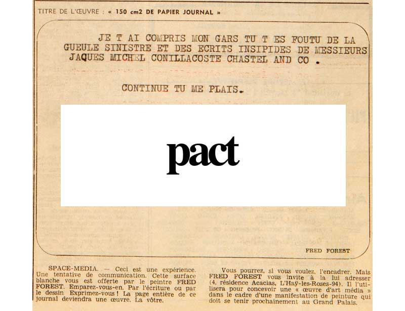 fred forest chez pact