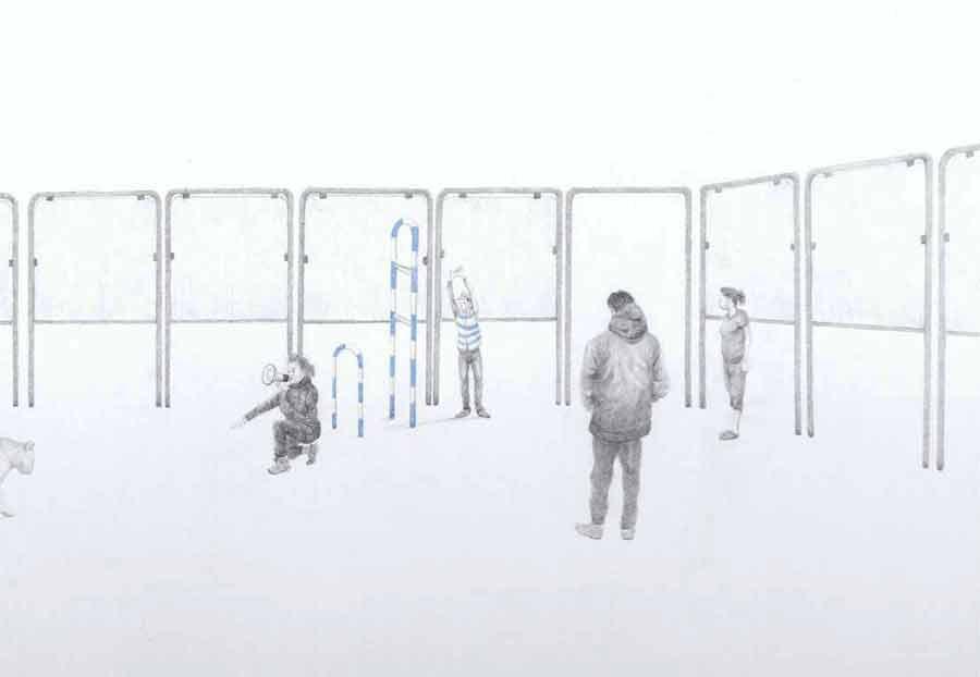 Massinissa Selmani - Promesse #2, 2017, graphite et mines couleur sur papier, 65 x 100 cm