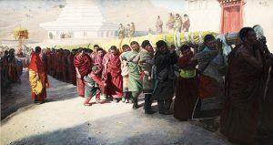 Han Yuchen - 《抬大佛》油画 217cm×410cm