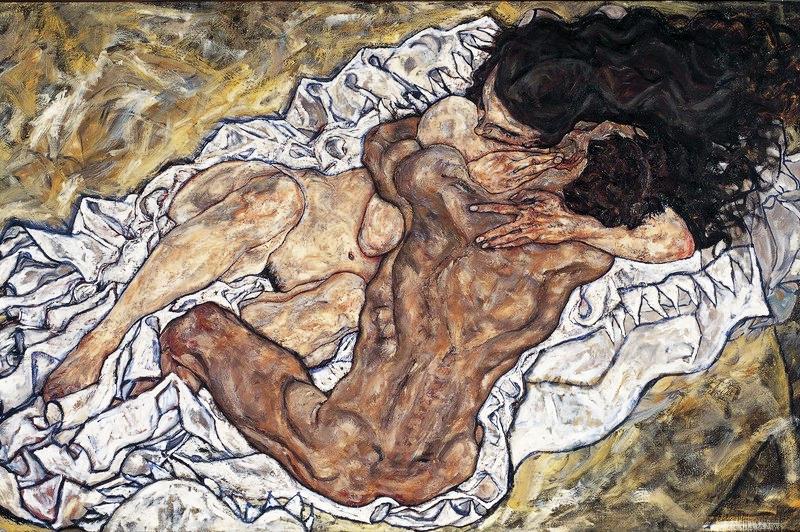 Vienne : Egon Schiele : L'étreinte (amants II), 1917 (Orangerie: « Egon Schiele - Les chemins d'une exposition »)