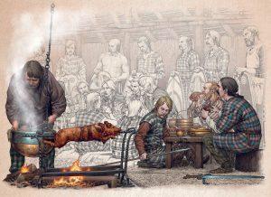 """Restitution idéalisée d'un banquet, ville de Troyes © María del Carmen Ruiz Moreno """"ªRU-MOR"""""""
