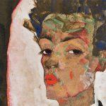 Egon Schiele Autoportrait debout avec un gilet au motif paon, 1911 Gouache, aquarelle et crayon noir sur papier monté sur carton 51,5 x 34,5 cm - Collection Ernst Ploil, Vienne