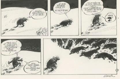 Franquin, Idées Noires, L'homme & les Loups, planche parue dans Fluide Glacial