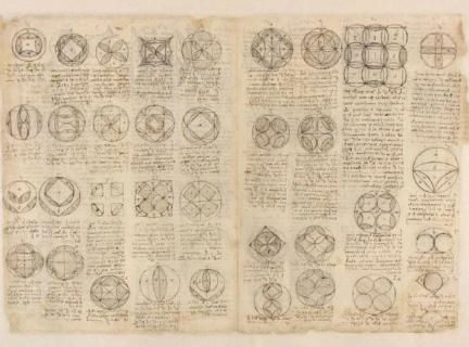 Codex Atlanticus : Répartition du cercle et de la quadrature (Fol. 471) Léonard de Vinci 1478-1519 Manuscrit sur papier Veneranda Biblioteca Ambrosiana, Pinacoteca, Milan (Italie)