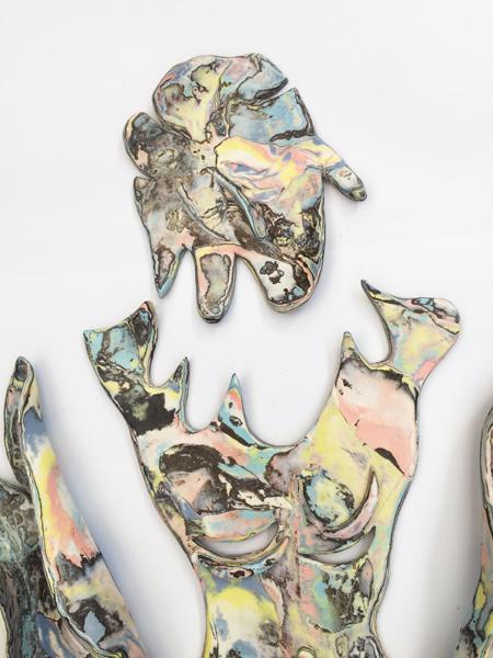 Bea Bonafini : Bathing Melusine (detail), Bea Bonafini, stained porcelain and black stoneware, 80x60cm, 2019 © Bea Bonafini