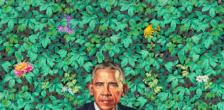 Barack Obama official portrait by Kehindre Wiley