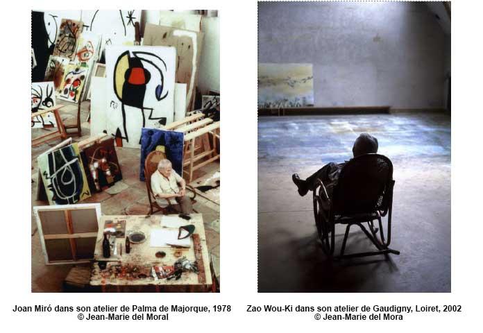 Joan Miró et-Zao Wou-Ki dans leurs ateliers