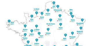 Cartographie du prix moyen des loyers